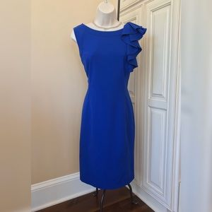 Calvin Klein Royal Blue Ruffle Sheath Dress - 8